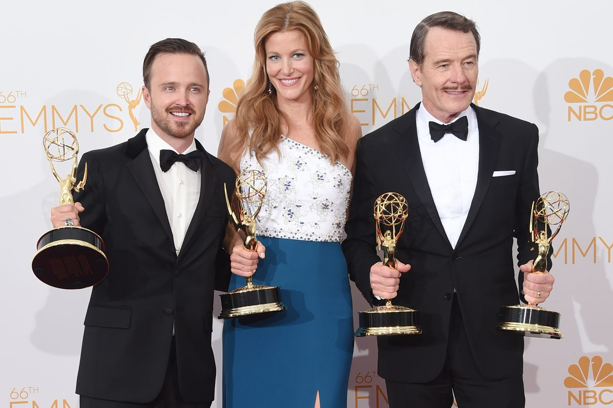 Aaron Paul (left), Anna Gunn, and Bryan Cranston all won Emmys for their work on Breaking Bad.