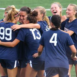 UConn's Duda Santin #99 celebrates after scoring a goal during the UMass Minutewomen vs the UConn Huskies at Morrone Stadium at Rizza Performance Center in an exhibition women's college soccer game in Storrs, CT, Monday, August 9, 2021.