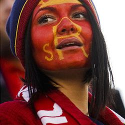 RSL fan Timare Bobadilla waits for the game to start between Real Sal Lake and CF Monterrey at Rio Tinto Stadium in Sandy on  Wednesday, April 27, 2011.