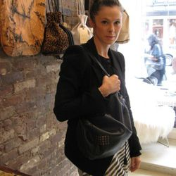 The designer with her favorite bag