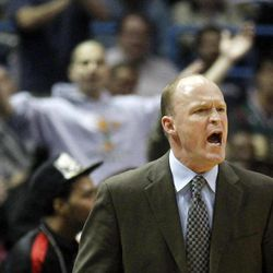 Milwaukee Bucks head coach Scott Skiles argues with an official  during the second half of an NBA basketball against the Oklahoma City Thunder Monday, April 9, 2012, in Milwaukee. Skiles received a technical foul moments later.