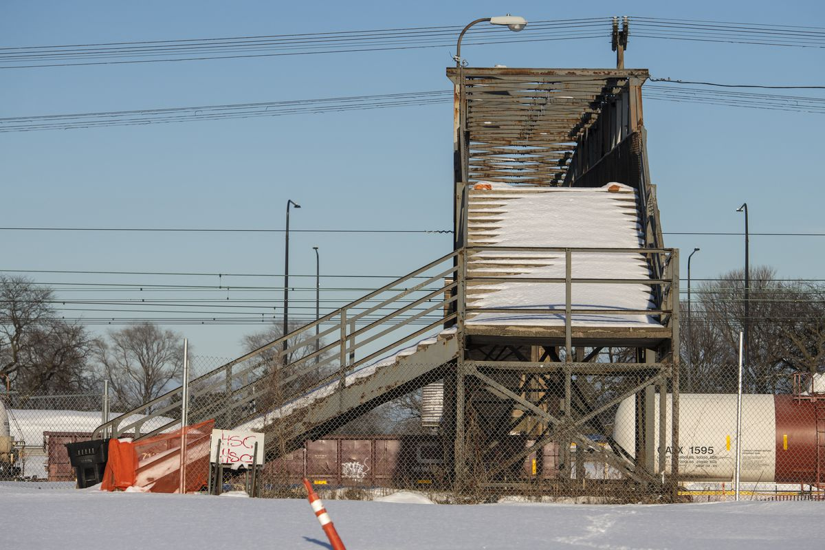 The 43rd Street pedestrian bridge that runs over Lake Shore Drive is in the process of being demolished by the Chicago Department Of Transportation, Tuesday, Feb. 9, 2021. The demolition is taking place in order to build a new and more accessible one.