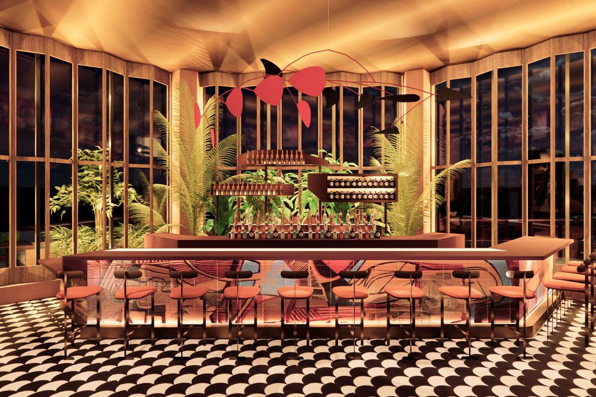 a bar with floor-to-ceiling windows, a large red work of art and black and white tiled floor