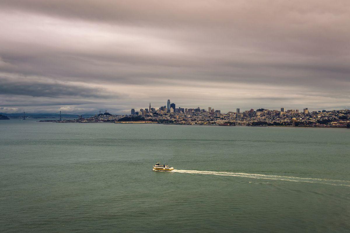 Dark gray clouds over San Francisco.