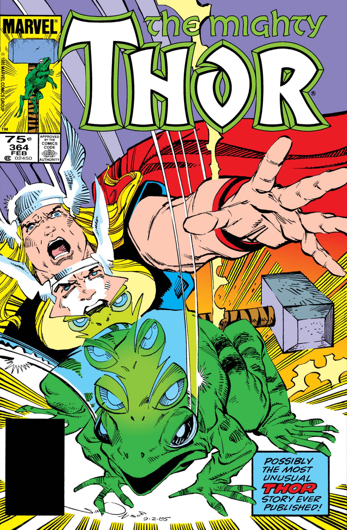 Thor drops his hammer in alarm as he transforms into a frog on the cover of Thor #364, Marvel Comics (1986).