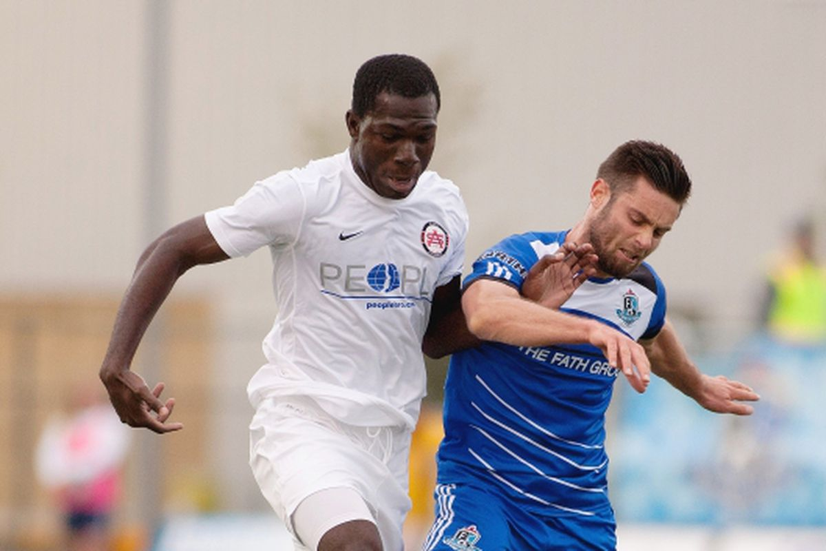 Kwadwo Poku in action against FC Edmonton