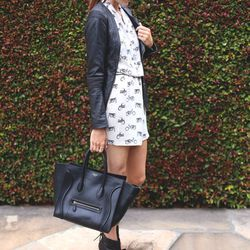 """Samantha of <a href=""""http://www.couldihavethat.com/"""">Could I Have That?</a> is wearing an Equipment dress, a Doma jacket, IRO wedges, Celine sunglasses and bag, and rings by <a href=""""http://www.gorjana-griffin.com/gorjana/jewelry/rings/lena-ring.html?85=4"""