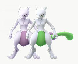 Shiny Mewtwo stands with its normal version in Pokémon Go