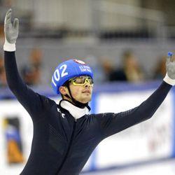 John-Henry Krueger reacts after winning the men's 1000-meters A final race during the U.S. Olympic short track speedskating trials Sunday, Dec. 17, 2017, in Kearns, Utah. (AP Photo/Rick Bowmer)