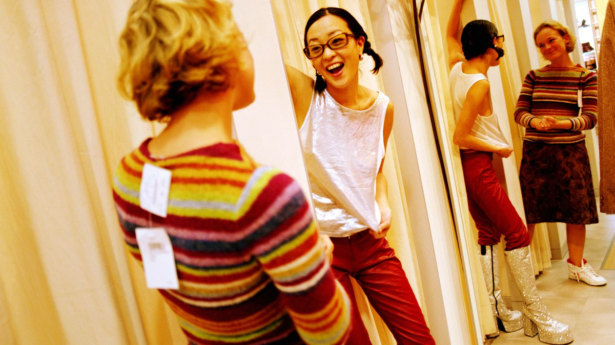 Two women in a department store dressing room