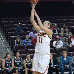 Cassie Harberts gets an easy basket.