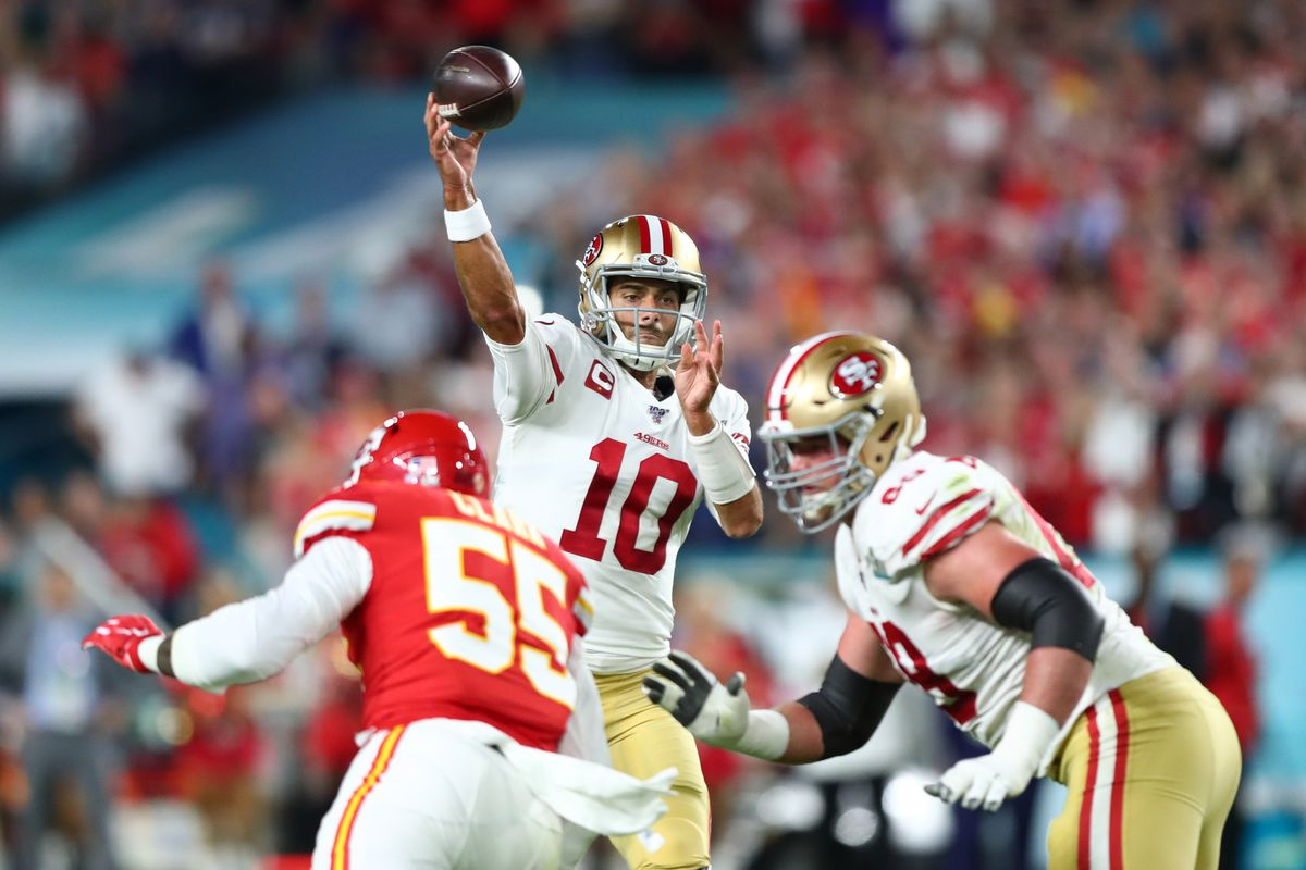 San Francisco 49ers quarterback Jimmy Garoppolo drops back to pass against the Kansas City Chiefs in the first quarter in Super Bowl LIV at Hard Rock Stadium.