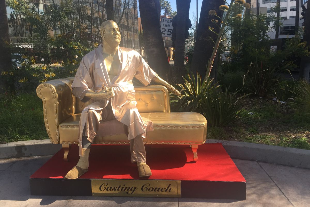 Harvey Weinstein 'casting couch' statue appears on Hollywood Walk Of Fame