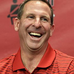 Nebraska head coach Bo Pelini laughs as he talks about his health during his weekly NCAA college football news conference at Memorial Stadium, Monday, Sept. 17, 2012, in Lincoln, Neb. Pelini was taken to a local hospital during the second half of Nebraska's game against Arkansas State last Saturday after he complained of not feeling well during the first half.