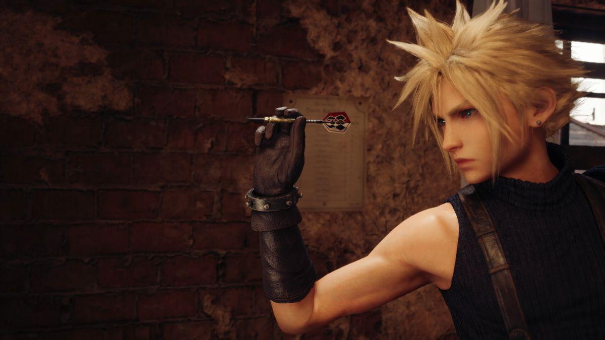 Cloud throws a dart in Final Fantasy 7 Remake
