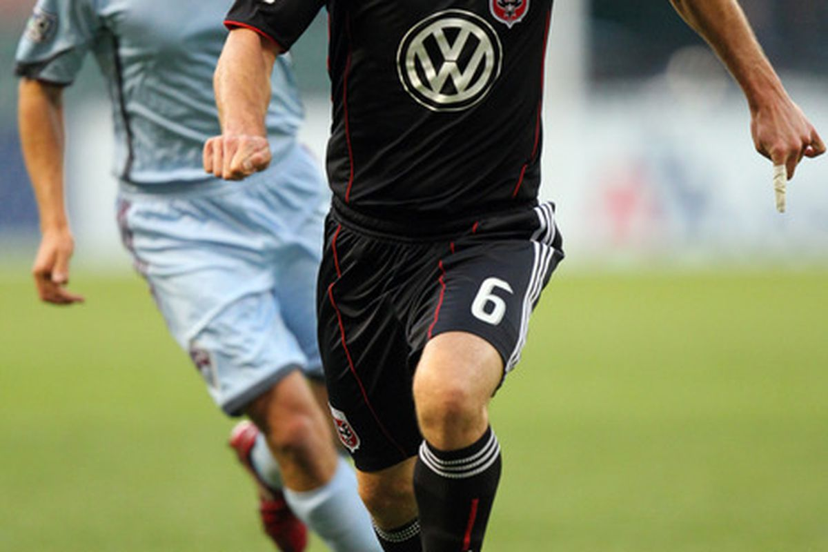 WASHINGTON - MAY 5: Kurt Morsink #6 of D.C. United controls the ball against Wells Thompson #15 of the Colorado Rapids at RFK Stadium on May 5, 2010 in Washington, DC. (Photo by Ned Dishman/Getty Images)