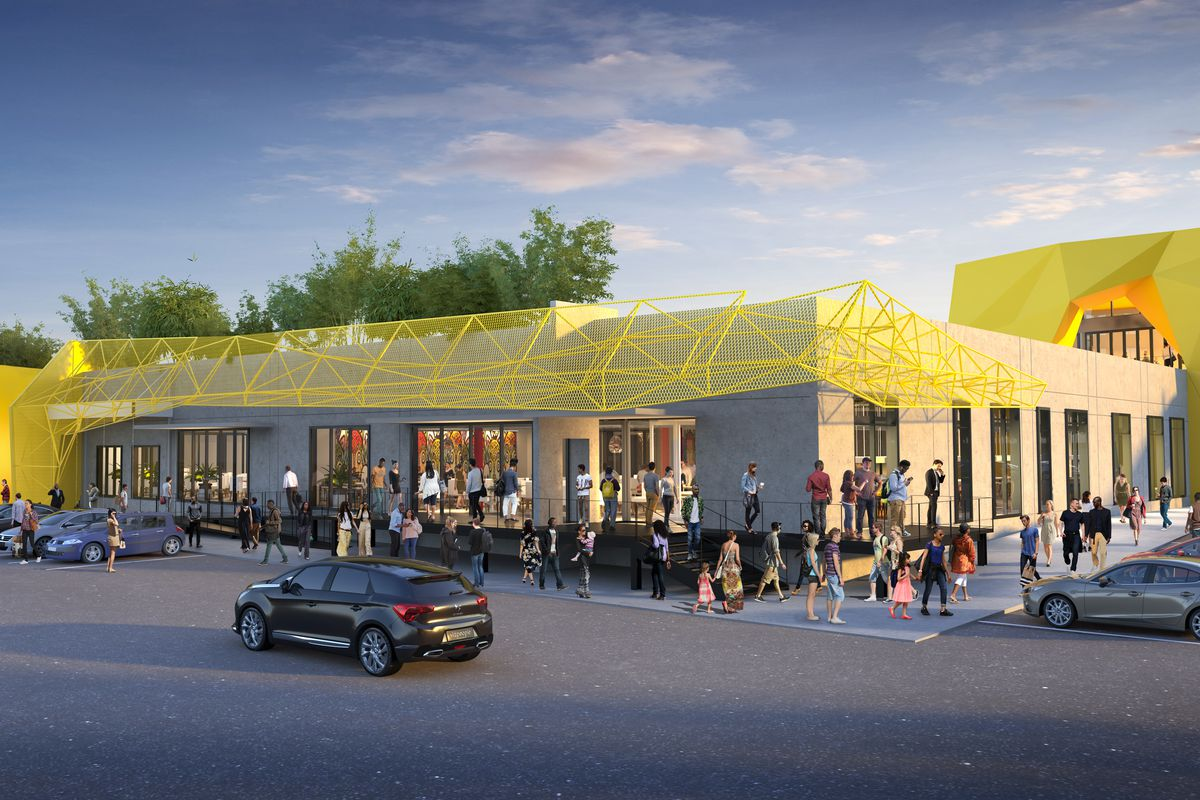 A rendering of the overhauled complex, with a bright yellow metal mesh awning on top of the one-floor building.