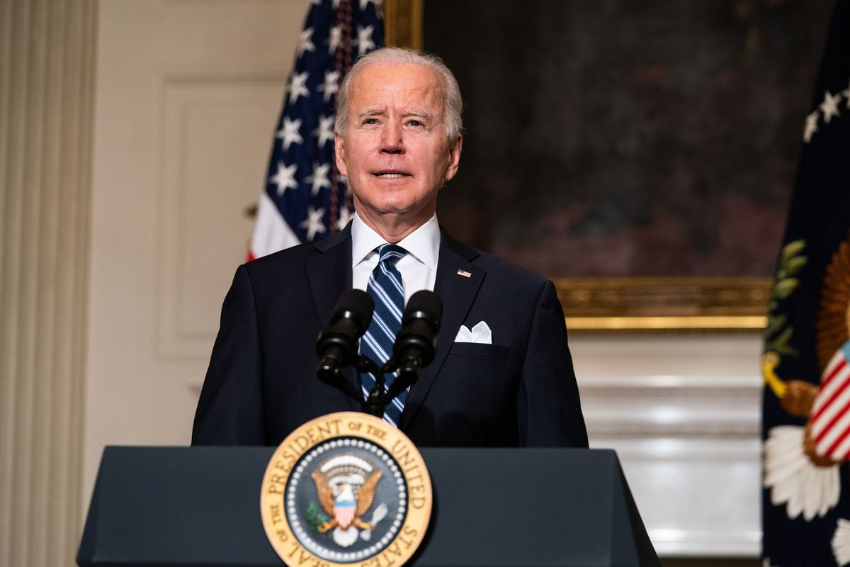 U.S. President Joe Biden speaks about climate change issues in the State Dining Room of the White House on January 27, 2021 in Washington, DC.