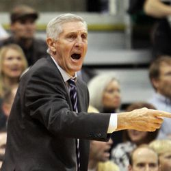 Utah Jazz head coach Jerry Sloan complains about a call on Friday, Dec. 3, 2010. Sloan rejoined the Jazz organization Wednesday.