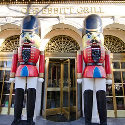 Gigantic nutcrackers flank the entrance of Old Ebbitt Grill during the holidays.  You'll find similar nutcrackers at Clyde's in Georgetown.