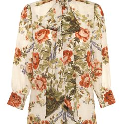 """This blouse is made from silk georgette and has pearl """"GG"""" buttons."""