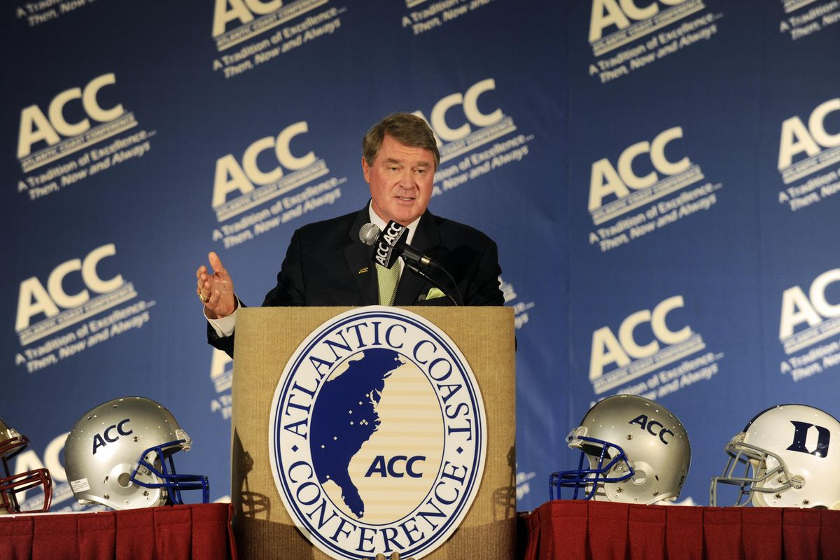 ACC Commissioner John Swofford explained why Pitt is a good fit for the conference (Sam Sharpe-US PRESSWIRE)