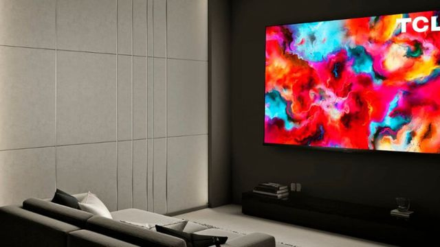 The TCL 8-series displayed in a living room