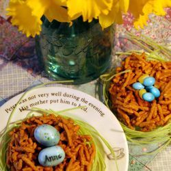 Butterscotch bird nests with personalized eggs