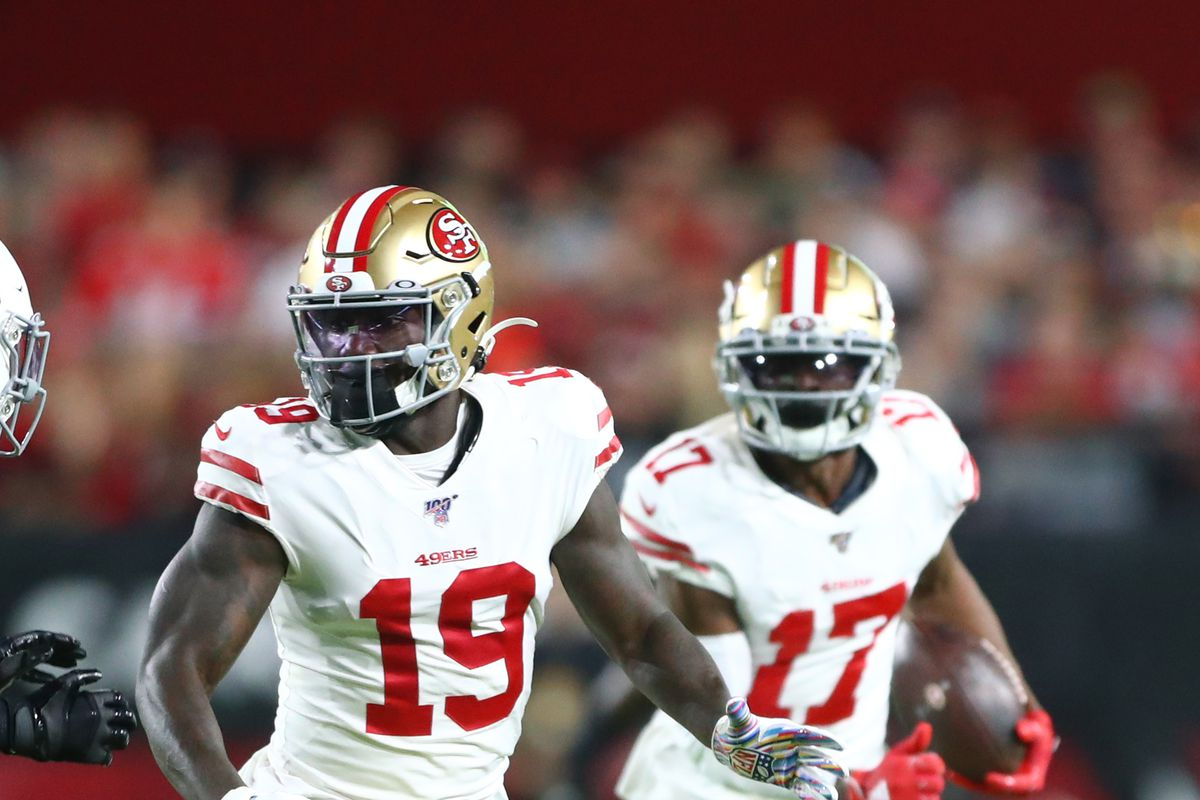 San Francisco 49ers wide receiver Deebo Samuel blocks for Emmanuel Sanders against the Arizona Cardinals at State Farm Stadium.
