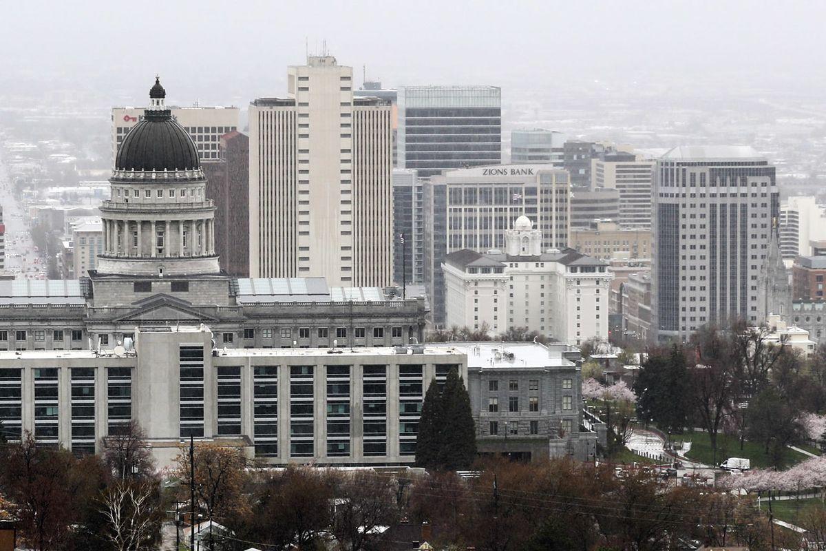 FILE - The Salt Lake City skyline in Salt Lake City on Tuesday, April 9, 2019.