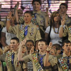 FILE - Eagle Scouts are honored at the Boy Scouts of America Centennial Court of Honor 2010 at the Stadium of Fire at LaVell Edwards Stadium in Provo , Utah, Saturday, July 3, 2010.