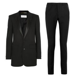 Who says you have to wear white? Opt instead for a classic black tuxedo with extra slim pixie pants.