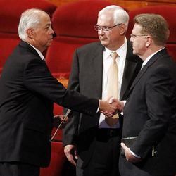 Elder Larry Echo Hawk, Elder Robert C. Gay and Elder Scott D. Whiting shake hands after the 182nd Annual General Conference for The Church of Jesus Christ of Latter-day Saints at the LDS Conference Center in Salt Lake City on Saturday, March 31, 2012.