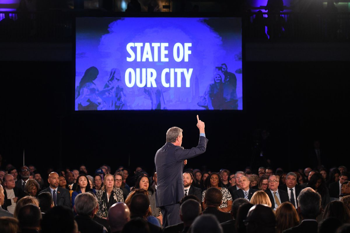 Mayor Bill de Blasio delivers his seventh State of the City address at the American Museum of Natural History.
