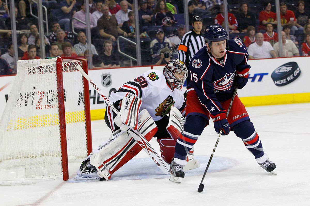 The Jackets got more of these against the Blackhawks than you might think.  Mandatory Credit: Russell LaBounty-US PRESSWIRE