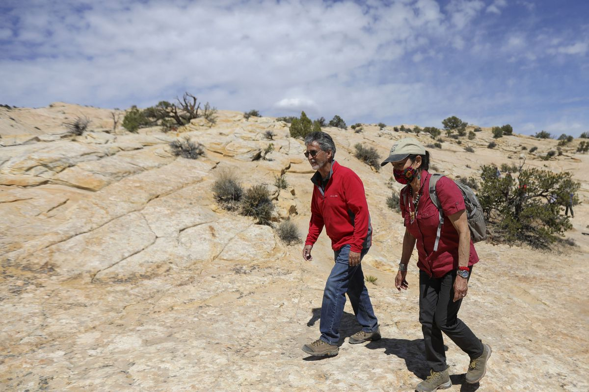 The BLM's Gary Torres and Interior Secretary Deb Haaland hike to the Butler Wash Ruins in Bears Ears National Monument.