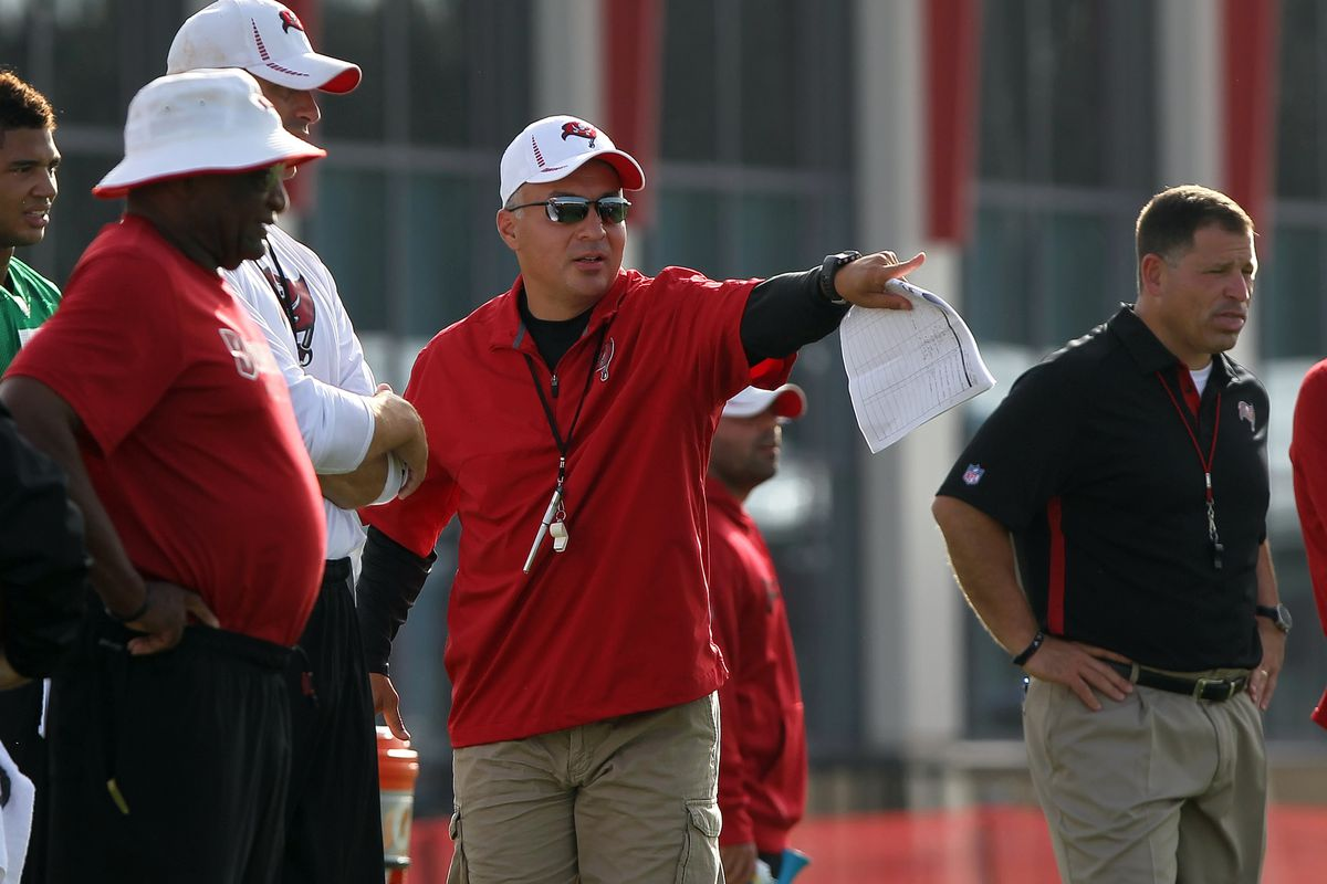 July 27, 2012; Tampa, FL, USA;  Tampa Bay Buccaneers offensive coordinator Mike Sullivan (center) and head coach Greg Schiano (right) watch practice during training camp at One Buc Place. Kim Klement-US PRESSWIRE