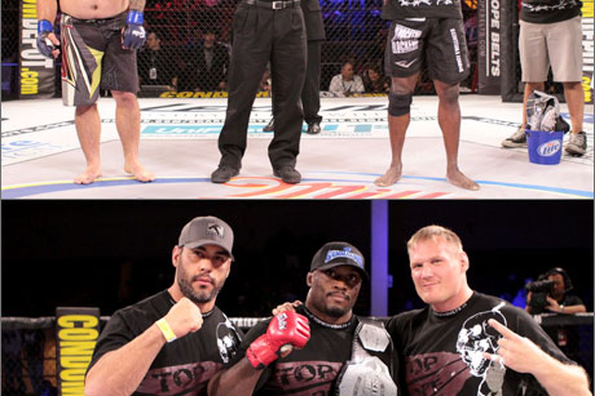 Bobby Lashley poses with Strikeforce heavyweight Josh Barnett after winning the Shark Fights heavyweight championship at Shark Fights 21. (Photo via cagejunkies.com)