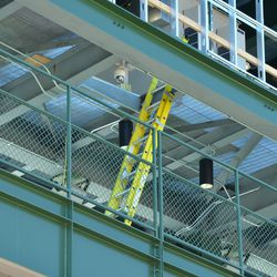 10:34 a.m. Ladder leading to the inside of the left-field video board -