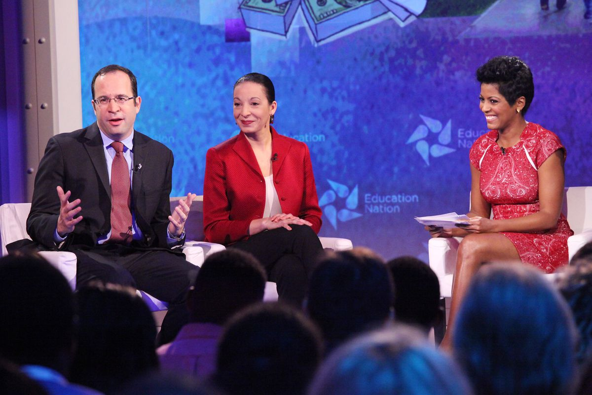 """At the 2013 Education Nation Summit, David Coleman, president and CEO of The College Board, Caroline Hoxby, Scott and Donya Bommer Professor in Economics at Stanford University, CA, and Tamron Hall, Anchor of MSNBC's """"NewsNation"""" -- (Photo by: Rob Kim/NBC/NBCU Photo Bank via Getty Images)"""