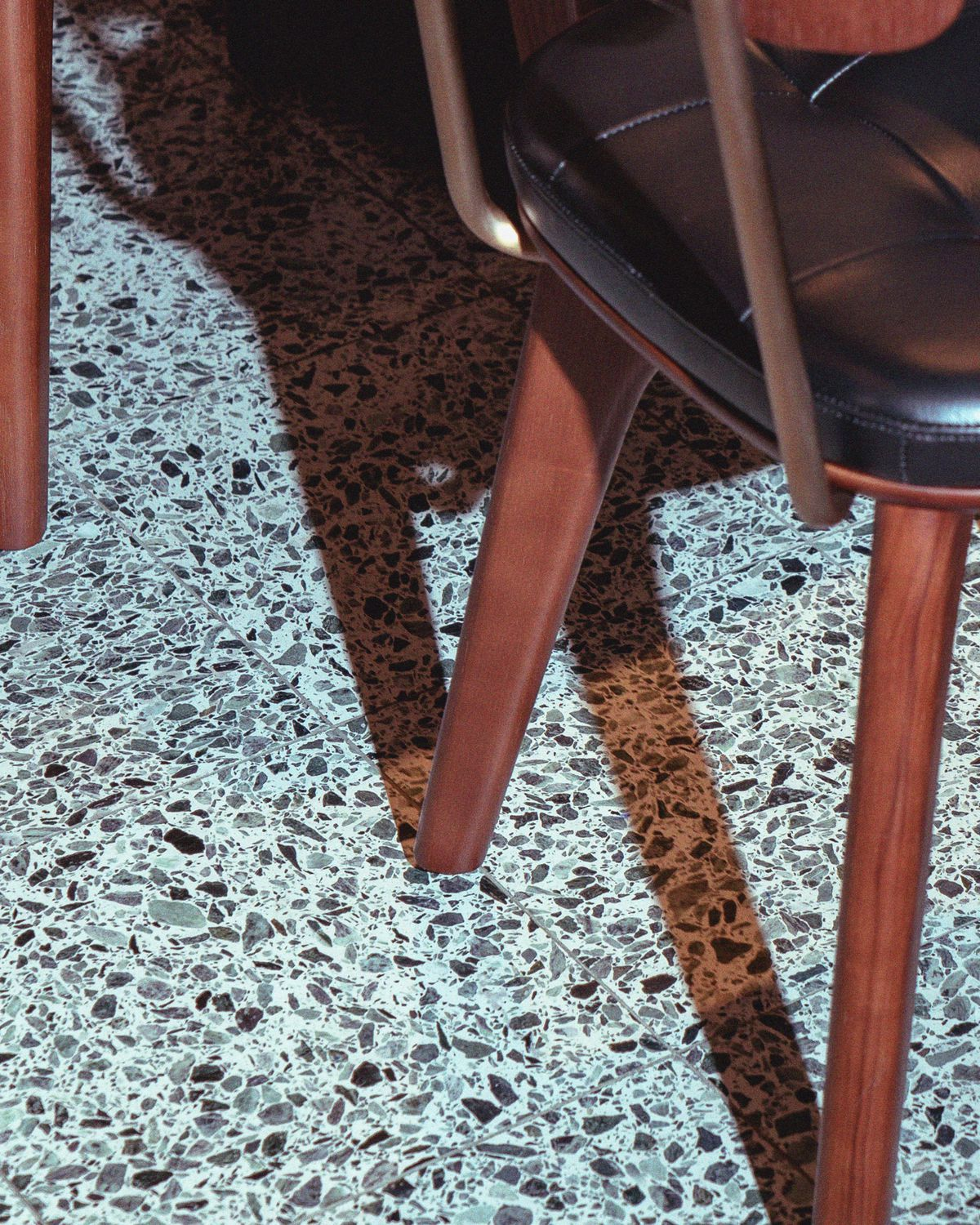 Terrazzo detailing at Kym's in the Bloomberg Arcade restaurant development, London - the follow-up to Michelin-starred dim sum restaurant A. Wong in Victoria