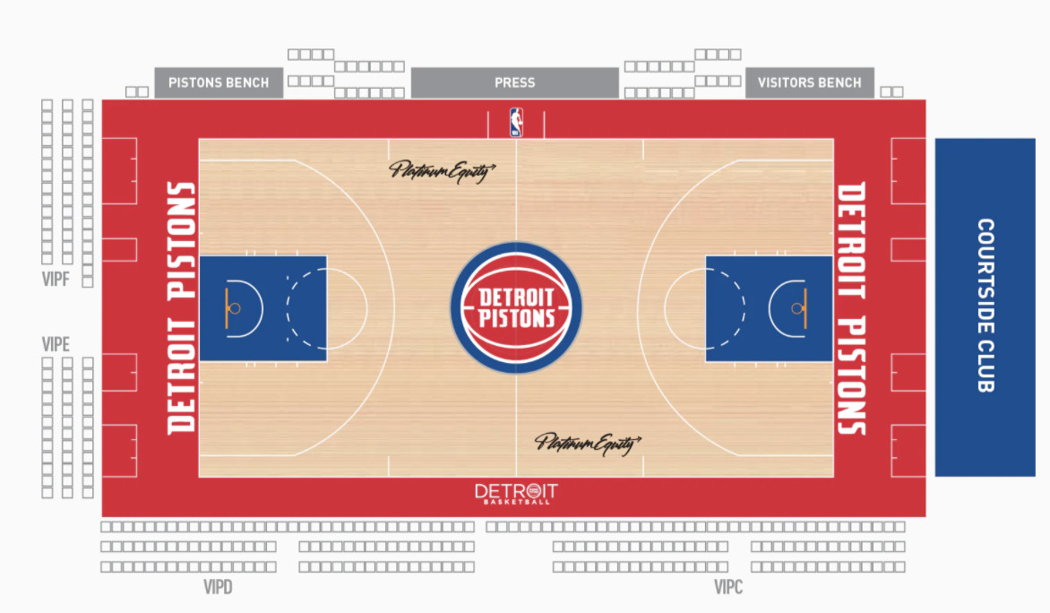 A rendering of the floor of the Pistons at Little Caesars Arena. It shows the bar close to courtside behind the basket