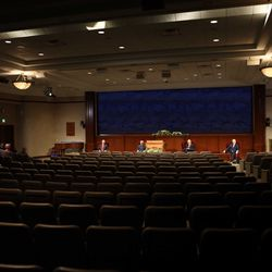Church leaders participate in sharing messages of hope to millions of Latter-day Saints and their friends around the world on Saturday, April 4, 2020. The 190th Annual General Conference is being broadcast from a small auditorium in the Church Office Building on Temple Square.