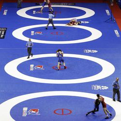Wrestlers compete during the U.S. Olympic Wrestling Team Trials, Saturday, April 21, 2012, in Iowa City, Iowa.