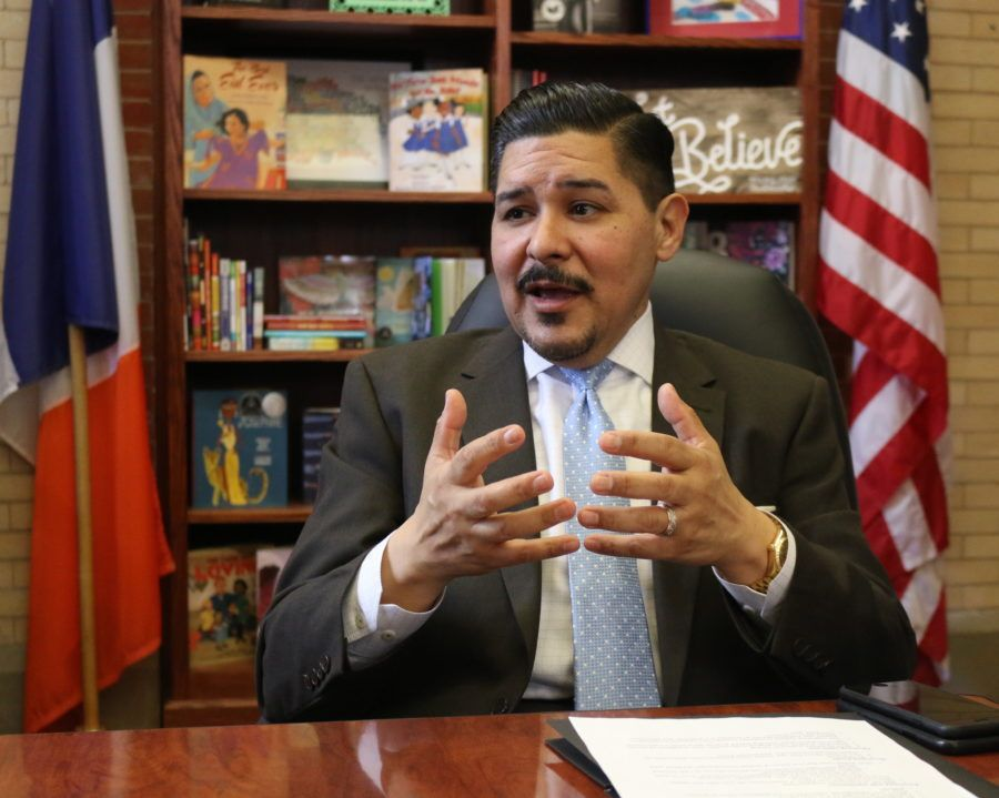 Schools Chancellor Richard Carranza at Tweed Courthouse, the education department's headquarters.