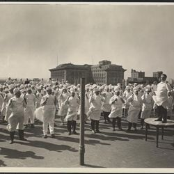 """Hotel Commodore, exercising the chefs, 1920 by Byron Company. From the Collections of the Museum of the City of New York. [<a href=""""http://collections.mcny.org/MCNY/C.aspx?VP3=ViewBox&IT=ZoomImageTemplate01_VForm&IID=2F3XC5U0AB9V&CT=Image&"""
