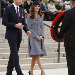 Donning a Michael Kors coatdress for a commemorative service at the Australian War Memorial on April 25th, 2014 in Canberra, Australia.