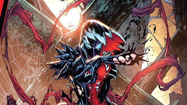 Gwen Stacy in a black, red, and white venom-like version of her classic white costume, on the cover of Gwenom vs. Carnage #1, Marvel Comics (2021).