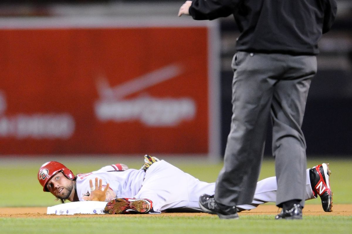 """Ryan Roberts does not impress the umpire with his famous """"Baby Seal"""" comedy routine."""