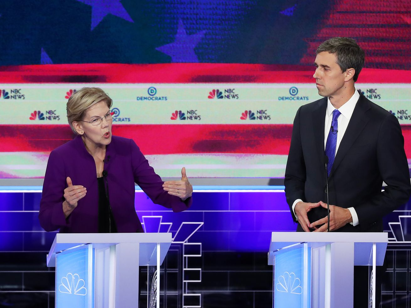 Sen. Elizabeth Warren (D-MA) and former Rep. Beto O'Rourke (D-TX) both said that climate change was the top threat to the United States during the first Democratic 2020 presidential debate.